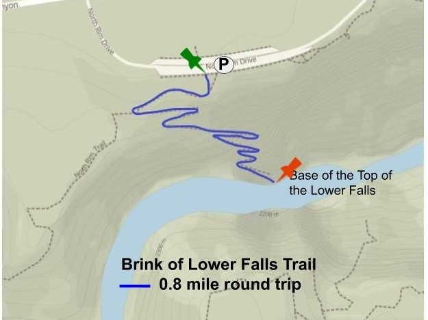 Brink of Lower Falls Trail, Canyon Village and Grand Canyon