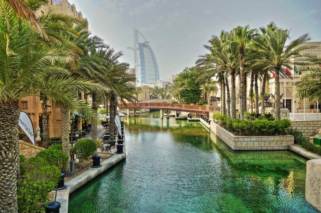 View of the hotel Burj Al Arab from Souk Madinat Jumeirah