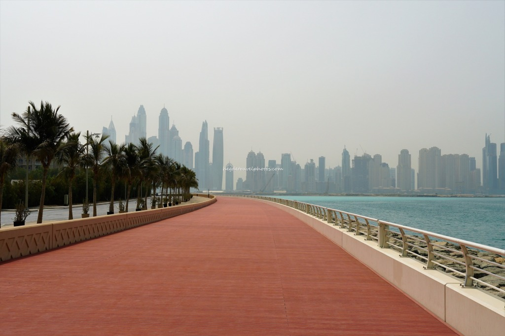 Skyline of skyscrapers - Dubai Marina from boardwalk on Palm Jumeirah