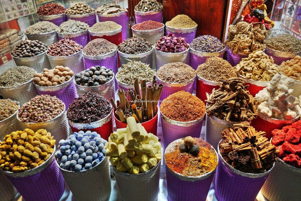 Rainbow colored spices in Dubai's Spice Souk