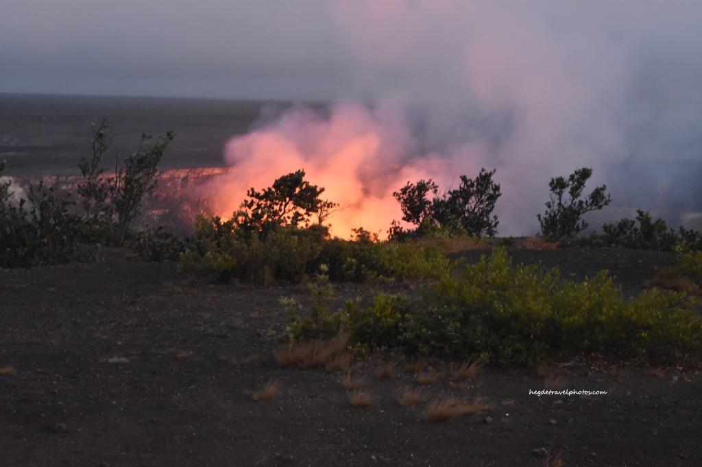 Halemaumau Crater at dusk, Hawaiʻi Volcanoes National Park