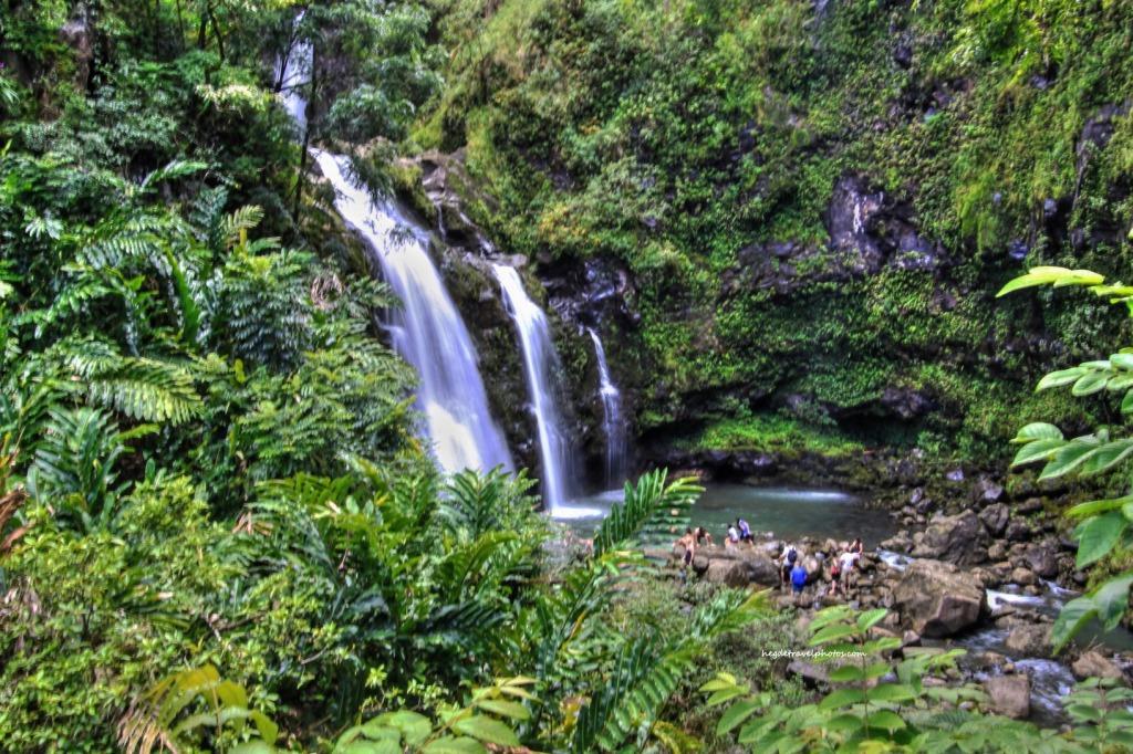 Upper Waikani Falls (aka Three Bears), Hana Highway, Maui, Hawaii